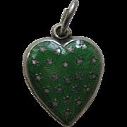 Vintage Green Enameled Stars Sterling Heart Charm