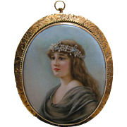 Antique Lady Porcelain 14k Brooch/Pendant