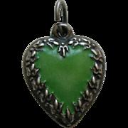 Vintage Enameled Green Fleur-de-lis Border Sterling Heart Charm