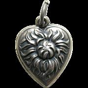 Vintage Chrysanthemum Sterling Heart Charm
