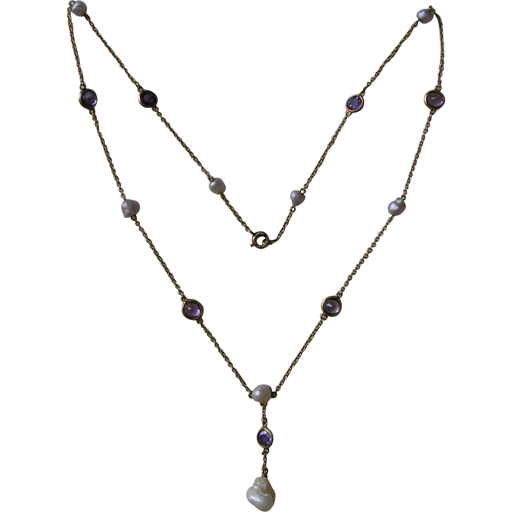 antique amethyst and pearl 14k necklace red robin