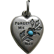 "Vintage Forget-Me-Not Turquoise Paste ""L.D.A."" Sterling Heart Charm"