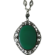 Arts and Crafts Chrysoprase Sterling Necklace