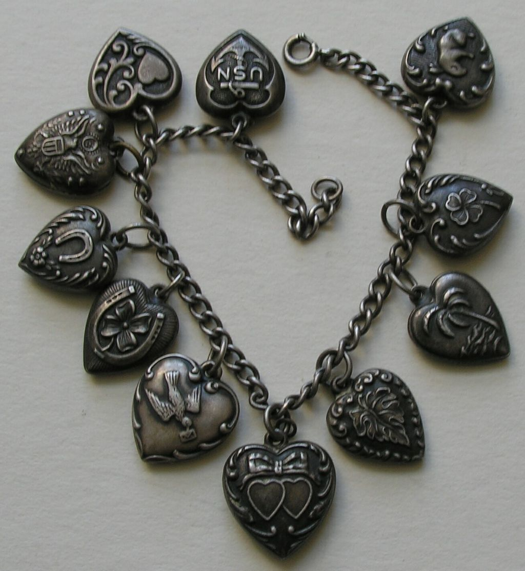 Vintage Eleven Heart Sterling Bracelet with Bunny Heart