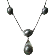 Arts and Crafts Blister Pearl Sterling Necklace