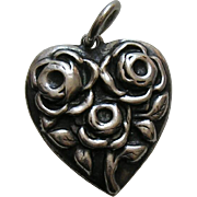 Walter Lampl June Roses Flower of the Month Sterling Heart Charm