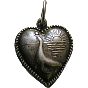 Vintage Seal Sterling Heart Charm