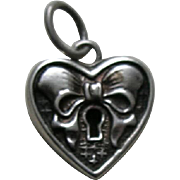 Vintage Faux Lock with Bow Sterling Heart Charm