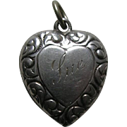 Vintage Scroll Border Sue Double Sided Sterling Heart Charm