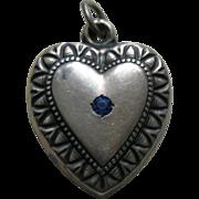 Vintage Blue Paste Patricia Large Sterling Heart Charm