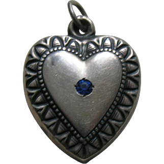 Vintage Blue Paste Patricia Large Sterling Heart Charm
