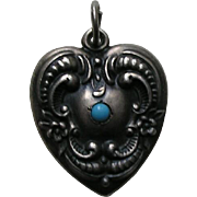 Vintage Floral Border Turquoise Paste Large Sterling Heart Charm