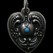 Vintage Floral Border Turquoise Paste Large Sterling Heart Charm