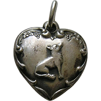 Vintage Fox and Grapes Sterling Heart Charm