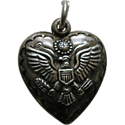 Vintage Military Sterling Heart Charm