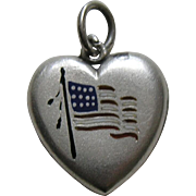 Antique Enameled American Flag Sterling Heart Charm