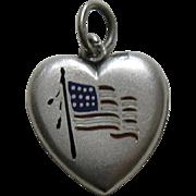 Antique Enameled American Flag Sterling Heart Charm