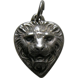"Vintage Lion ""Buddie"" Sterling Heart Charm"