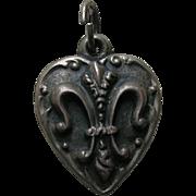 """Vintage Fleur-de-lis """"LS"""" Sterling Heart Charm"""