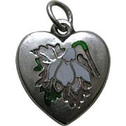 "Antique Enameled Snowdrop ""WL"" Sterling Heart Charm"