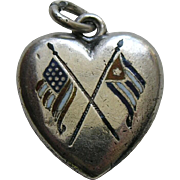 Antique Enameled Spanish American War Sterling Heart Charm