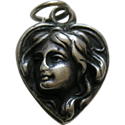"Antique Art Nouveau Lady ""Mama"" Sterling Heart Charm"