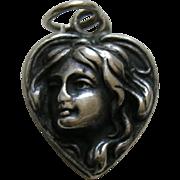 """Antique Art Nouveau Lady """"Mama"""" Sterling Heart Charm"""