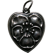 Vintage Large Pansy Sterling Heart Charm
