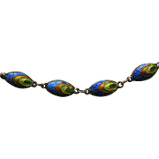 Chinese Enameled Peacock Bead Silver Necklace
