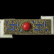 Theodore Fahrner Art Deco Matte Enamel Coral 935 Brooch