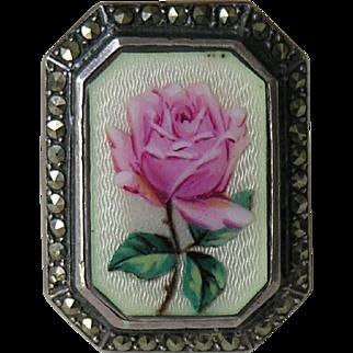 Art Deco Enameled Rose Marcasite Sterling Ring