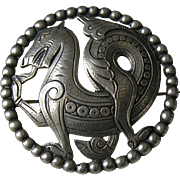 Antique Scandinavian Dragon 830 Silver Brooch