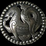 Antique Scandinavian Dragon 830 Silver Brooch