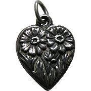 Vintage Flower of the Month September Aster Sterling Heart Charm