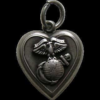 "Vintage Marines ""Joan"" Sterling Heart Charm"