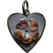 Vintage Enameled Flower Mother of Pearl Sterling Heart Charm