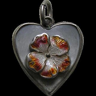 Vintage Enameled Flower Mother of Pearl Sterling Heart Charm
