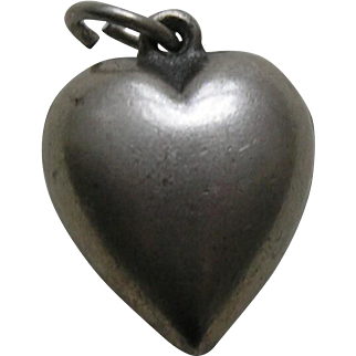 Vintage Extra Puffy Sterling Heart Charm