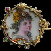 Antique Limoges Enamel Rose Diamond Gold Brooch