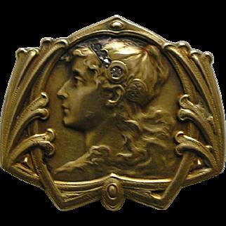 Art Nouveau Byzantine Lady Rose Diamond 14k Brooch/Watch Pin