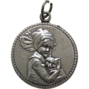 Antique Girl with Cat Silver Charm