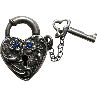 Walter Lampl Blue Paste and Flower Sterling Heart Lock and Key