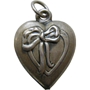 "Vintage Ribbon and Bow ""Avery"" Sterling Heart Charm"