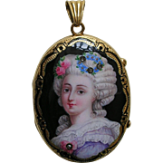 Antique Enameled Lady with Flowers Diamond Gold Locket