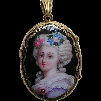 Antique Enameled Lady with Flowers Diamond Gold Locket