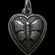 """Vintage Butterfly """"MJP"""" Sterling Heart Charm"""
