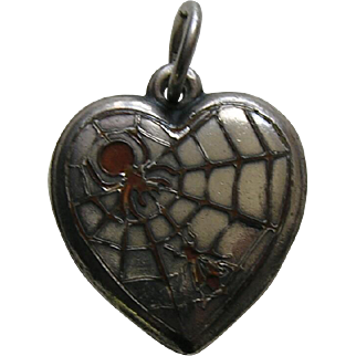 Vintage Orange Enameled Spider and Fly Sterling Heart Charm
