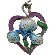 Vintage Enameled Iris/Orchid Sterling Charm