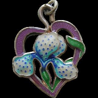 Vintage Enameled Iris/Orchid Sterling Charm