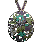 Margot de Taxco Enameled Flowers Sterling Brooch/Necklace